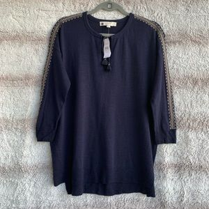 LOFT M Navy Blue Embroidered Blouse Top